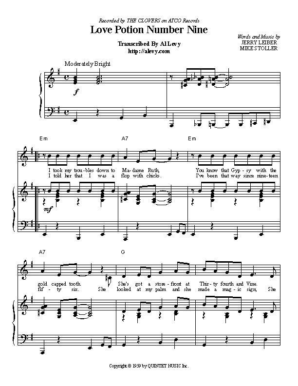 love potion number nine chords