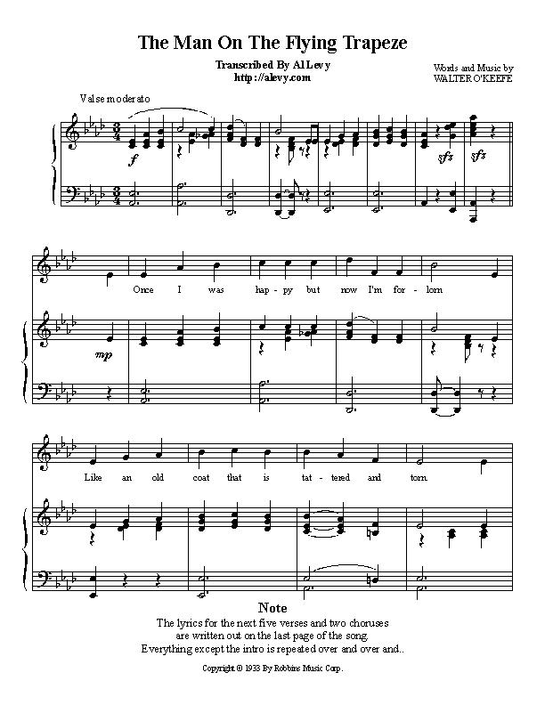 Piano piano bar songs sheet music : trapeze.jpg